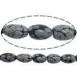 Snowflake Obsidian Bead, Oval, imported, Length:16 Inch, Sold By Strand