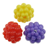 Plastic Pony Beads, Flower, solid color, mixed colors, 10mm, Hole:Approx 2mm, Approx 1100PCs/Bag, Sold By Bag