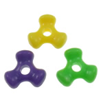 Plastic Pony Beads, Triangle, solid color, mixed colors, 11x10x4mm, Hole:Approx 2mm, Approx 3000PCs/Bag, Sold By Bag