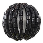 Woven Glass Seed Beads, with Acrylic, Round, handmade, black, 19mm, Hole:Approx 3.5mm, Sold By PC