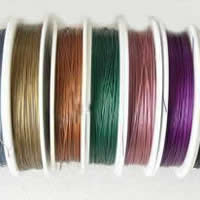 Tiger Tail Wire, with Plastic, plated, with rubber covered & 7-yarn & steel diameter: 0.5mm, more colors for choice, 0.6mm, Length:90 m, Sold By PC
