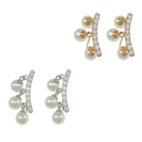 Cubic Zirconia Micro Pave Sterling Silver Earring, 925 Sterling Silver, plated, micro pave cubic zirconia & with glass pearl, more colors for choice, Sold By Pair