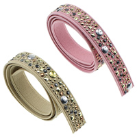 Nylon Ribbon, with Rhinestone & Aluminum, plated, more colors for choice, nickel, lead & cadmium free, 15mm, Sold By Yard