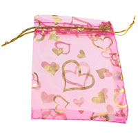 Organza Jewelry Pouches, with Nylon Cord, Rectangle, with heart pattern & gold accent, fuchsia, 95x212x1mm, Sold By PC