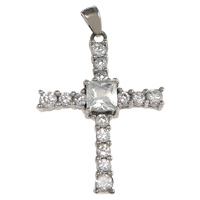Cubic Zirconia Micro Pave Sterling Silver Pendant, 925 Sterling Silver, Cross, plated, micro pave cubic zirconia, more colors for choice, 21x29x5.5mm, Hole:Approx 2x3mm, Sold By PC
