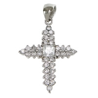 Cubic Zirconia Micro Pave Sterling Silver Pendant, 925 Sterling Silver, Cross, plated, micro pave cubic zirconia, more colors for choice, 20.5x26.5x3.5mm, Hole:Approx 3x5mm, Sold By PC