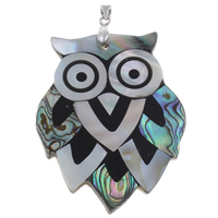 Brass Shell Pendants, Freshwater Shell, with brass bail & Black Shell & Abalone Shell & Resin, Owl, platinum color plated, 40x52x4mm, Hole:Approx 3x3mm, Sold By PC