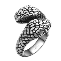 comeon® Finger Ring, Stainless Steel, Snake, different size for choice & blacken, 27x21mm, Sold By PC