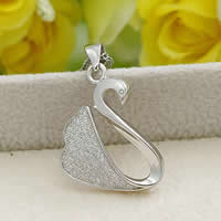 Cubic Zirconia Micro Pave Sterling Silver Pendant, 925 Sterling Silver, Swan, platinum plated, micro pave cubic zirconia, 13.2x22mm, Hole:Approx 3x5mm, Sold By PC