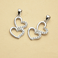 Cubic Zirconia Micro Pave Sterling Silver Pendant, 925 Sterling Silver, Heart, micro pave cubic zirconia, 21mm, Hole:Approx 3mm, Sold By PC