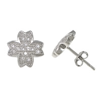 Cubic Zirconia Micro Pave Sterling Silver Earring, 925 Sterling Silver, Flower, platinum plated, micro pave cubic zirconia, 9x9x12mm, Sold By Pair
