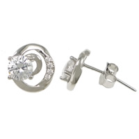 Cubic Zirconia Micro Pave Sterling Silver Earring, 925 Sterling Silver, micro pave cubic zirconia, 8x9x16mm, Sold By Pair