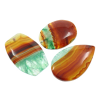 Ice Quartz Agate Pendants, natural, mixed, 35x46x8mm-37x63x7mm, Hole:Approx 2mm, 10PCs/Bag, Sold By Bag