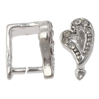 Zinc Alloy Pinch Bail, Heart, platinum color plated, with rhinestone, nickel, lead & cadmium free, 7x10x8mm, Hole:Approx 5x6mm, 10PCs/Bag, Sold By Bag