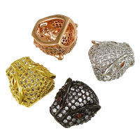 Cubic Zirconia Micro Pave Brass Beads, Leopard, plated, micro pave cubic zirconia, more colors for choice, 13x14x9mm, Hole:Approx 7.5x4mm, 2.5x3mm, Sold By PC