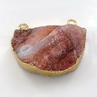 Natural Agate Druzy Pendant, Brass, with Ice Quartz Agate, gold color plated, druzy style, 37x30x10.5mm, Hole:Approx 3mm, Sold By PC