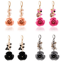 Resin Zinc Alloy Earring, with aluminum flower ornament & Crystal & Resin, iron hoop earring, Flower, gold color plated, with painted & faceted, more colors for choice, nickel, lead & cadmium free, 75x30mm, Sold By Pair