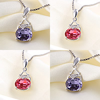 Austrian Crystal Pendant, 925 Sterling Silver, with Austrian Crystal, with cubic zirconia, more colors for choice, 8x19mm, Hole:Approx 3x5mm, Sold By PC