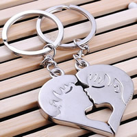 Zinc Alloy Puzzle Couple Key Chain, Heart, platinum color plated, 95x44mm, Sold By Pair