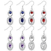 comeon® Jewelry Earring, Brass, Flat Oval, real silver plated, with cubic zirconia, more colors for choice, 9x25mm, Sold By Pair