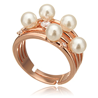 Pearl Sterling Silver Finger Ring, 925 Sterling Silver, with Freshwater Pearl, plated, natural & adjustable & micro pave cubic zirconia, more colors for choice, 11x7mm, US Ring Size:7, Sold By PC