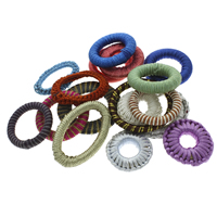 Woven Linking Rings, Nylon Cord, with Iron, Donut, handmade, mixed colors, 38x5mm-50x5mm, Hole:Approx 14-30mm, Sold By PC