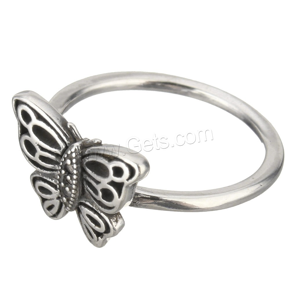 Cubic Zirconia Micro Pave Brass Finger Ring, Butterfly, platinum color plated, different size for choice & micro pave cubic zirconia & blacken, 12mm, Sold By PC