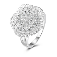 comeon® Finger Ring, Brass, Flower, real silver plated, different size for choice & micro pave cubic zirconia, 19x20mm, Sold By PC