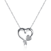 comeon® Jewelry Necklace, Brass, Heart, real silver plated, oval chain & micro pave cubic zirconia, 26x28mm, Length:Approx 17.7 Inch, Sold By Strand