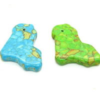 Mosaic Turquoise Pendant, Bird, synthetic, more colors for choice, 30x22mm, Hole:Approx 1mm, Sold By PC