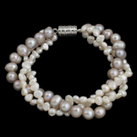 Cultured Freshwater Pearl Bracelets, with Brass, 3-strand, 6-7mm, 7-8mm, Length:Approx 7.5 Inch, Sold By Strand