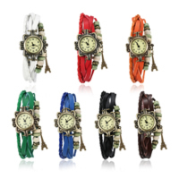 comeon® Women Jewelry Watch, PU, with Waxed Cotton Cord & Glass & Wood & Zinc Alloy, Chinese movement, Eiffel Tower, antique bronze color plated, charm bracelet & for woman & multi-strand, more colors for choice, 20mm, Length:Approx 7.8 Inch, Sold By PC