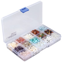 Gemstone Beads, with Plastic Box, Nuggets, natural, 15 cells, 5-8mm, Hole:Approx 1mm, Approx 1200PCs/Box, Sold By Box