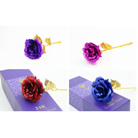 Gold Foil artificial flower, Rose, 24K gold plated, with packing box, more colors for choice, 250x100x50mm, 283x14x77mm, Sold By Set