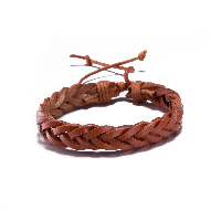 comeon® Jewelry Bracelet, Cowhide, with Waxed Cotton Cord, adjustable & for woman, coffee color, Length:Approx 11.8 Inch, Sold By Strand