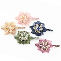 Hair Barrettes, Organza, with ABS Plastic Pearl & Crystal & Resin & Iron, Flower, platinum color plated, for woman & faceted, more colors for choice, 100x100mm, Sold By PC