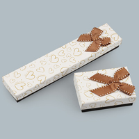 Cardboard Jewelry Set Box, with Grosgrain Ribbon, Rectangle, with heart pattern & different styles for choice, Sold By PC