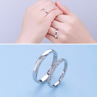 Couple Finger Rings, 925 Sterling Silver, for woman & with cubic zirconia, 2mm, 3mm, US Ring Size:8.5-14, Sold By Pair