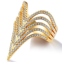 Cubic Zirconia Micro Pave Brass Finger Ring, 18K gold plated, different size for choice & micro pave cubic zirconia & for woman, 30mm, Sold By PC