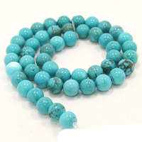 Natural Turquoise Beads, Round, different size for choice, Hole:Approx 1mm, Length:Approx 15 Inch, Sold By Strand