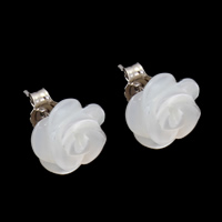 White Shell Earrings, Brass, with White Shell, Flower, platinum color plated, nickel, lead & cadmium free, 11x5mm, Sold By Pair