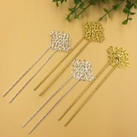 Hair Stick, Brass, with Iron, Flower, plated, more colors for choice, nickel, lead & cadmium free, 115x2mm, 10PCs/Bag, Sold By Bag